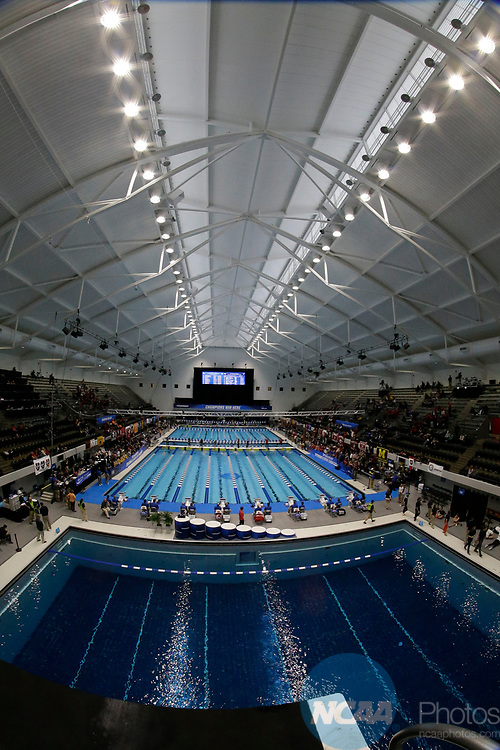 INDIANAPOLIS, IN - MARCH 18: IUPUI Natatorium through a fisheye lens during the Division I Women's Swimming & Diving Championships held at the Indiana University Natatorium on March 18, 2017 in Indianapolis, Indiana. (Photo by A.J. Mast/NCAA Photos via Getty Images)