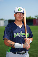 Vermont Lake Monsters Jhonny Rodriguez (17) poses for a photo before a game against the Auburn Doubledays on July 13, 2016 at Falcon Park in Auburn, New York.  Auburn defeated Vermont 8-4.  (Mike Janes/Four Seam Images)