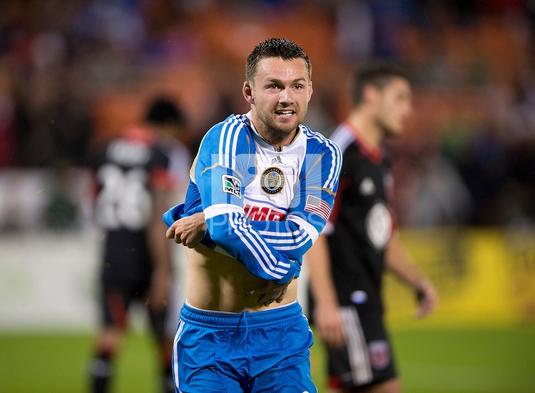 Jack McInerney (9) of the Philadelphia Union celebrates his goal by taking his jersey off during a Major League Soccer game at RFK Stadium in Washington, DC. D.C. United tied the Philadelphia Union, 1-1.