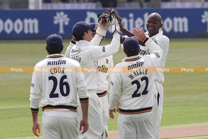 Lonwabo Tsotsobe of Essex celebrates taking the wicket of Glamorgan batsman Mike Powell with his team mates - Essex CCC vs Glamorgan CCC - LV County Championship Division Two Cricket at the Ford County Ground, Chelmsford - 26/04/11 - MANDATORY CREDIT: Gavin Ellis/TGSPHOTO - Self billing applies where appropriate - Tel: 0845 094 6026