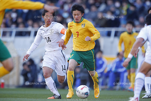 (L-R) Tokuma Suzuki (Maebashi Ikuei), Jukiya Fujishima (Seiryo), <br /> JANUARY 12, 2015 - Football / Soccer : <br /> 93rd All Japan High School Soccer Tournament final match between Maebashi Ikuei 2-4 Seiryo at Sitama Stadium 2002, Saitama, Japan. <br /> (Photo by Yusuke Nakanishi/AFLO SPORT) [1090]