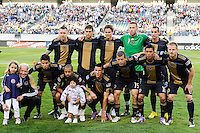 The Philadelphia Union starting XI with Vice President Joe Biden and his granddaughter Natalie. The Philadelphia Union defeated D. C. United 3-2 during a Major League Soccer (MLS) match at Lincoln Financial Field in Philadelphia, PA, on April 10, 2010.