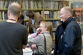 Enjoying a joke, Open Day at Kingston College when prospective students and their parents look around.