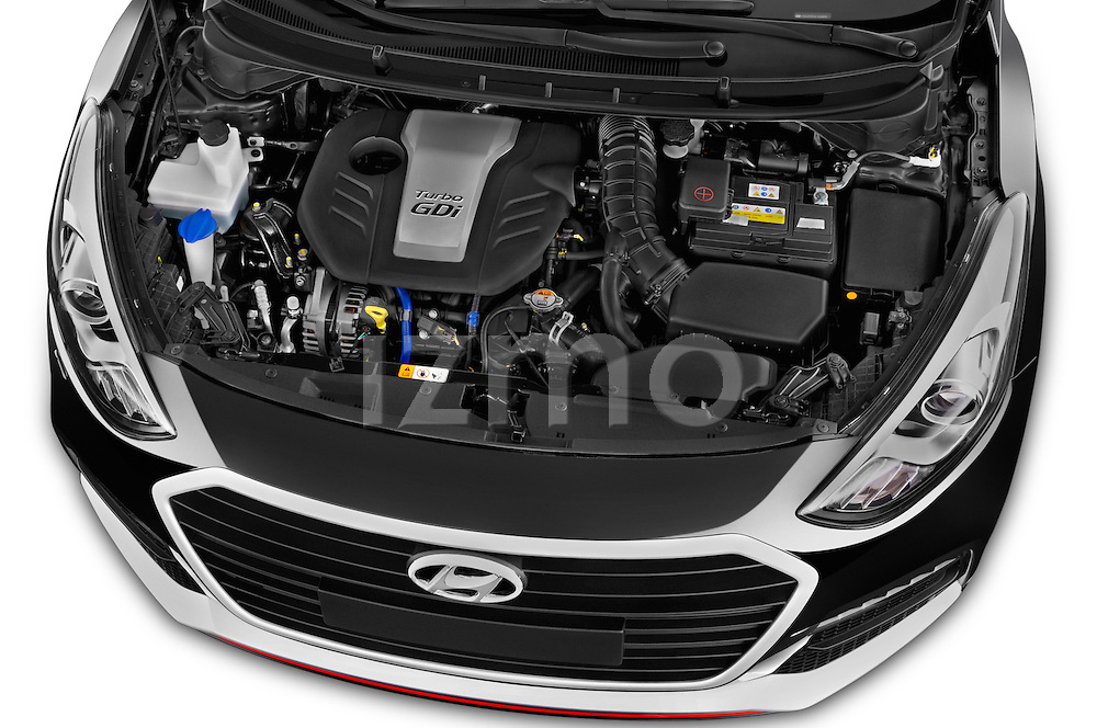 Car stock 2015 Hyundai I30 Turbo 5 Door Hatchback engine high angle detail view