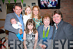 Enjoying the Tralee Houlihan family gathering at the Shebeen bar,Rock St,Tralee last Friday night were l-r: Darren and Darren jnr, Caragh, Clodagh, Una, Nora and PJ Houlihan.