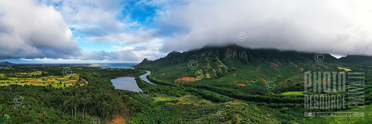 An aerial view of Menehune Fishpond, Huleia Stream and Nawiliwili town, Kaua'i.