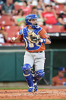 Durham Bulls catcher Ali Solis (44) throws down to second in between innings during a game against the Buffalo Bisons on July 10, 2014 at Coca-Cola Field in Buffalo, New  York.  Durham defeated Buffalo 3-2.  (Mike Janes/Four Seam Images)