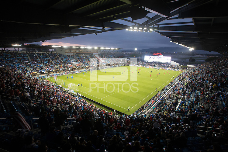 SAN JOSE, CA - March 24, 2017: An interior look of Avaya Stadium before the CONCACAF World Cup Qualifier game between the USA and Honduras.
