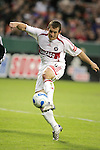 1 November 2007: Chicago's Chad Barrett strikes a first half goal. The Chicago Fire tied DC United 2-2 at RFK Stadium in Washington, DC in the second leg of a first round Major League Soccer playoff match. Chicago advanced on aggregate goals, 3-2.