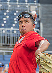 23 July 2016: Washington Nationals Athletic Training Assistant John Hsu tosses some ball during batting practice prior to a game against the San Diego Padres at Nationals Park in Washington, DC. The Nationals defeated the Padres 3-2 on a Stephen Drew pinch-hit, walk-off triple in the bottom of the 9th inning to tie their series at one game apiece. Mandatory Credit: Ed Wolfstein Photo *** RAW (NEF) Image File Available ***
