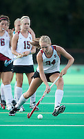 STANFORD CA - September 23, 2011:  Shannon Herold warms up before the Stanford vs Cal at vs Lehigh field hockey game at the Varsity Field Hockey Turf Friday night at Stanford.<br /> <br /> The Cardinal team defeated the Golden Bears 3-2.