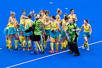 2nd February 2020; Sydney Olympic Park, Sydney, New South Wales, Australia; Womens International FIH Field Hockey, Australia versus Great Britain Women; Australia break the huddle before the game