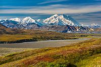 Red bearberry covers the tundra, Denali and the Alaska Range mountains border the Mckinley River Bar, Denali National Park, Alaska.