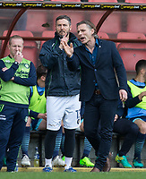 Wycombe Wanderers Manager Gareth Ainsworth & Goalkeeper / Coach Barry Richardson of Wycombe Wanderers during the Sky Bet League 2 match between Leyton Orient and Wycombe Wanderers at the Matchroom Stadium, London, England on 1 April 2017. Photo by Andy Rowland.