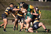 Petelo Sili gets plenty of attention from the Bombay defenders. Counties Manukau Premier Club Rugby game between Bombay and Pukekohe, played at Bombay on Saturday June 30th 2018.<br /> Bombay won the game 24 - 14 after leading 24 - 0 at halftime.<br /> Bombay 24 - Sepuloni Taufa, Tulele Masoe, Chay Mackwood, Liam Daniela tries, Ki Anufe 2 conversions.<br /> Pukekohe Mitre 10 Mega 14 - Joshua Baverstock, Gregor Christie tries; Cody White 2 conversions.<br /> Photo by Richard Spranger.