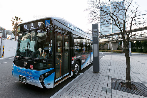 A hydrogen fuel cell bus is seen at Tokyo Big Sight on March 23, 2017, Tokyo, Japan. From March 21, the Tokyo Metropolitan Government Bureau of Transportation has been operating two hydrogen fuel cell buses on the route between Tokyo Station and the International Exhibition Center (Tokyo Big Sight). The new public transports, developed by Toyota Motor Corporation, are part of the bureau plan to contribute to a ''hydrogen society''. (Photo by Rodrigo Reyes Marin/AFLO)