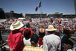 Members of the jury of the International Tribunal for Union Freedom give their indictment on labour violations by president Felipe Calderon's government during the May Day rally at the Mexico City's main square Zocalo, May 01, 2010. Thousands of workers marched on a Mexico City main thoroughfare demanding to fight against the labour policy by the Calderon's government. Photo by Heriberto Rodriguez