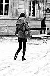 Paris, France. December 17th 2009..Snow Storm in Paris..Place Saint Germain des Prés (6th Arrondissement)