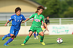 (L to R) <br /> Sayuri Matsuoka (Elfen), <br /> Mina Tanaka (Beleza), <br /> JULY 12, 2015 - Football / Soccer : <br /> 2015 Plenus Nadeshiko League Division 1 <br /> between NTV Beleza 1-0 AS Elfen Saitama <br /> at Hitachinaka Stadium, Ibaraki, Japan. <br /> (Photo by YUTAKA/AFLO SPORT)