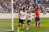 United States (USA) forward Abby Wambach (20) celebrates scoring her second goal. The women's national team of the United States defeated the Korea Republic 5-0 during an international friendly at Red Bull Arena in Harrison, NJ, on June 20, 2013.