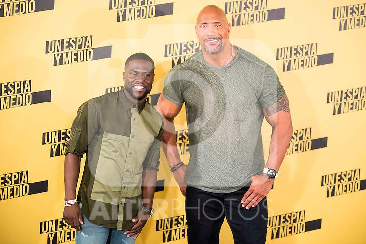 "Americans Actors Kevin Hart and Dwayne Johnson during the presentation of the film ""Un espia y medio"" at Hotel Villa Magna in Madrid. June 07. 2016. (ALTERPHOTOS/Borja B.Hojas)"