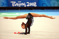 August 22, 2008; Beijing, China; Rhythmic gymnast Natalya Godunko of Ukraine performs with clubs on way to eventually placing 7th in the All-Around final at 2008 Beijing Olympics. Copyright 2008 Tom Theobald
