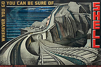 BNPS.co.uk (01202 558833)<br /> Pic: DavidLayFRICS/BNPS<br /> <br /> A futurist looking poster for Mousehole, Penzance<br /> <br />  A wonderful collection of vintage British travel posters celebrating the golden age of the seaside getaway have emerged for sale for £15,000.<br /> <br /> The posters were produced by Great Western Railway and British Railways between the 1930s to the 1960s to encourage Brits to holiday on the Cornish coast.<br /> <br /> One striking Art Deco poster issued by Great Western Railway shows a lady in an orange swimsuit at Newquay with surfers in the background. <br /> <br /> It describes the popular holiday destination as 'Cornwall's first Atlantic resort'.<br /> <br /> The collection of about 30 posters has been put together by a private collector over the past two decades who is now selling them with auction house David Lay FRICS, of Penzance, Cornwall.