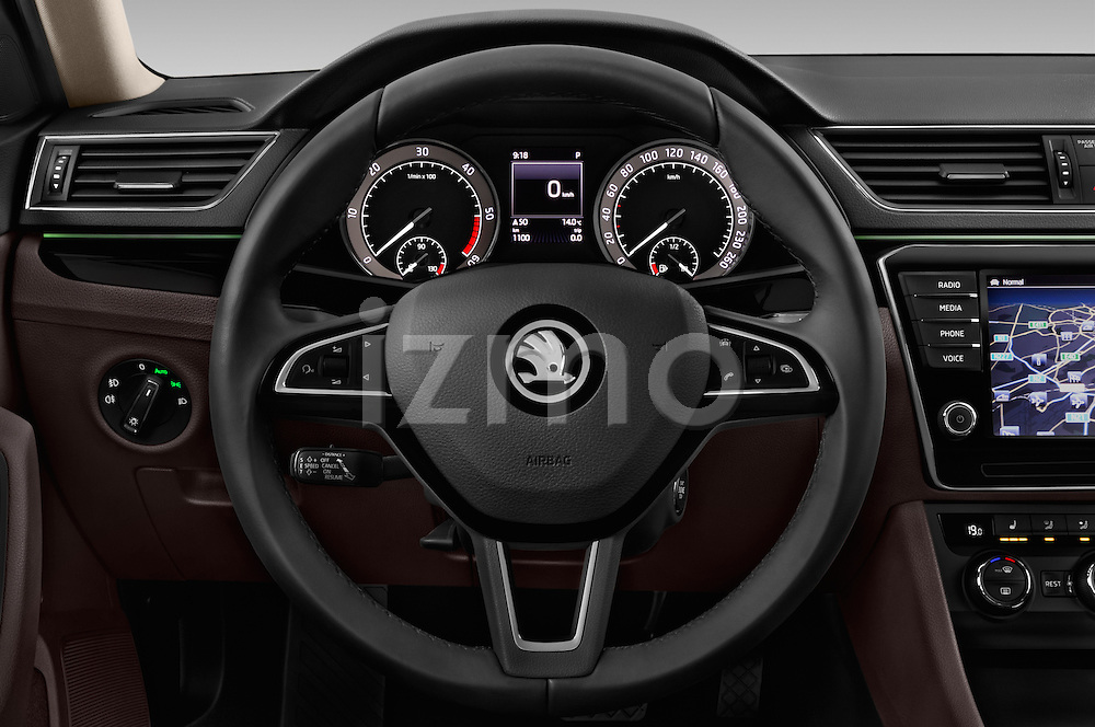 Car pictures of steering wheel view of a 2016 Skoda Superb Combi Laurin & Klement 5 Door Wagon Steering Wheel