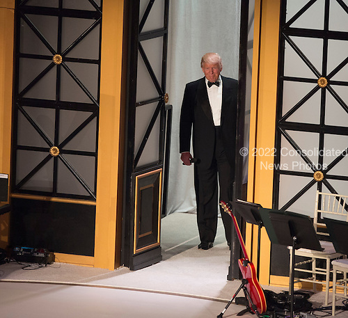 """President-elect of The United States Donald J. Trump arrives at a """"Candlelight"""" dinner to thank donors in Washington, DC, January 19, 2017. <br /> Credit: Chris Kleponis / Pool via CNP"""