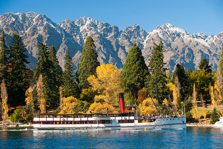 The TSS Earnslaw and the Remarkables Mountains, Central Otago, South Island, New Zealand.