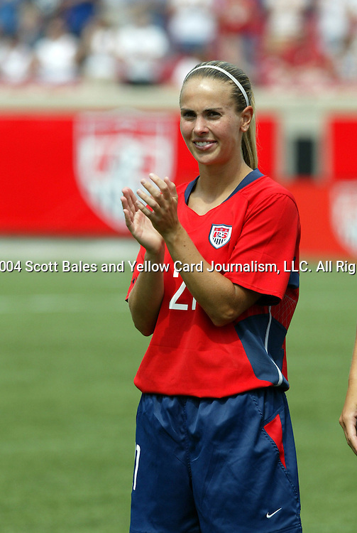 6 June 2004: Heather Mitts during pregame warmups. The United States tied Japan 1-1 at Papa John's Cardinal Stadium in Louisville, KY in an international friendly soccer game..