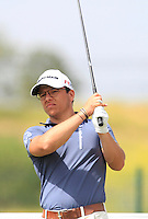 Kevin Hesbois (BEL) on the 1st tee during Round 1 of the Challenge de Madrid, a Challenge  Tour event in El Encin Golf Club, Madrid on Wednesday 22nd April 2015.<br /> Picture:  Thos Caffrey / www.golffile.ie