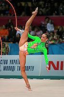 "Marina Shpekht of Russia performs with rope at 2007 World Cup Kiev, ""Deriugina Cup"" in Kiev, Ukraine on March 16, 2007."