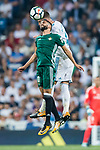 Ryad Boudebouz (l) of Real Betis fights for the ball with Sergio Ramos of Real Madrid during the La Liga 2017-18 match between Real Madrid and Real Betis at Estadio Santiago Bernabeu on 20 September 2017 in Madrid, Spain. Photo by Diego Gonzalez / Power Sport Images