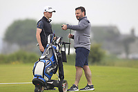 Sam Murphy (Portumna) and his caddy on the 1st during Round 1 of The East of Ireland Amateur Open Championship in Co. Louth Golf Club, Baltray on Saturday 1st June 2019.<br /> <br /> Picture:  Thos Caffrey / www.golffile.ie<br /> <br /> All photos usage must carry mandatory copyright credit (© Golffile | Thos Caffrey)