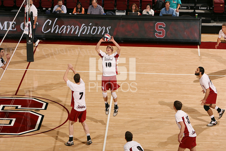 STANFORD, CA - JANUARY 30:  Evan Barry of the Stanford Cardinal during Stanford's 3-2 win over the Long Beach State 49ers on January 30, 2009 at Maples Pavilion in Stanford, California. Also pictured is Jason Palacios.