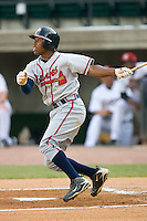 Mycal Jones #1 of the Danville Braves follows through on his swing versus the Greeneville Astros at Pioneer Park June 28, 2009 in Greeneville, Tennessee. (Photo by Brian Westerholt / Four Seam Images)