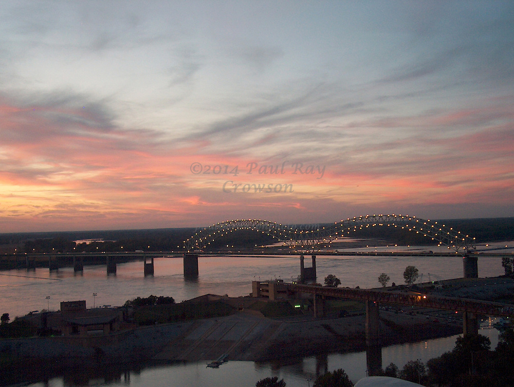 Mississippi River Bridge at sunset in Memphis