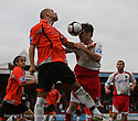 Scott Laird of Stevenage Borough wins a header from Daniel Webb of Salisbury during the Blue Square Premier match between Stevenage Borough and Salisbury City at the Lamex Stadium, Broadhall Way, Stevenage on 17th October, 2009.© Kevin Coleman 2009 .