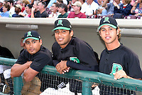 August 30, 2003:  Tulio Araque, Alexander Farfan, and Juan Frias of the Dayton Dragons during a game at Fifth Third Field in Dayton, Ohio.  Photo by:  Mike Janes/Four Seam Images