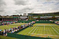 England, London, Juli 06, 2015, Tennis, Wimbledon, Overall view outside courts 8 and 9 with in the background Centrecourt<br /> Photo: Tennisimages/Henk Koster