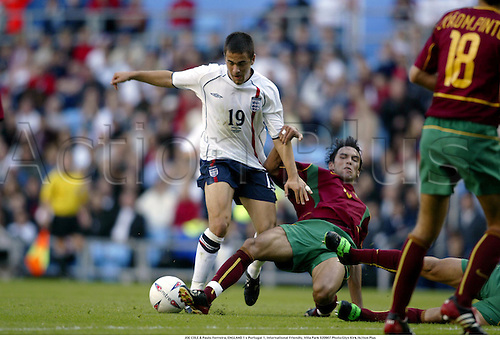 JOE COLE & Paulo Ferreira, ENGLAND 1 v Portugal 1, International Friendly, Villa Park 020907 Photo:Glyn Kirk/Action Plus...Soccer.Football 2002..