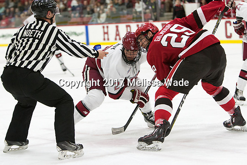 Tyler Moy (Harvard - 2), Alex Gilmour (SLU - 29) - The Harvard University Crimson defeated the St. Lawrence University Saints 6-3 (EN) to clinch the ECAC playoffs first seed and a share in the regular season championship on senior night, Saturday, February 25, 2017, at Bright-Landry Hockey Center in Boston, Massachusetts.