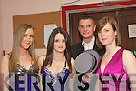 TEEN GLAM: Taking part in Castlegregory Christmas fashion and variety show last Friday night in the village community centre were l-r: Emma Herlihy, Laura Moore, Peter Searle and Sadhbh Coakley, all from Camp youth club.   Copyright Kerry's Eye 2008