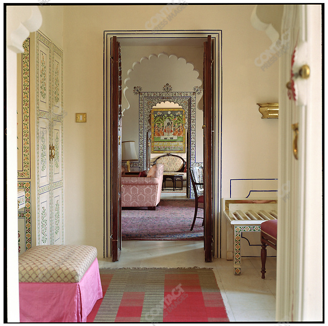Shiv Niwas Palace, the flagship of the HRH Hotel Group. The income from 14 Rajasthani hotels included in the Group, which was founded Arvind Singh Mewar, the 76th Maharana of Udaipur, ensures that the Maharana's dynasty will last in democratic times. Udaipur, Rajasthan, India, February 2006.