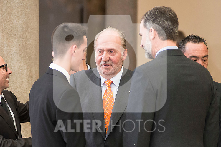 Jesús Tortosa Cabrera, King Juan Carlos and King Felipe VI of Spain attends to the National Sports Awards 2015 at El Pardo Palace in Madrid, Spain. January 23, 2017. (ALTERPHOTOS/BorjaB.Hojas)