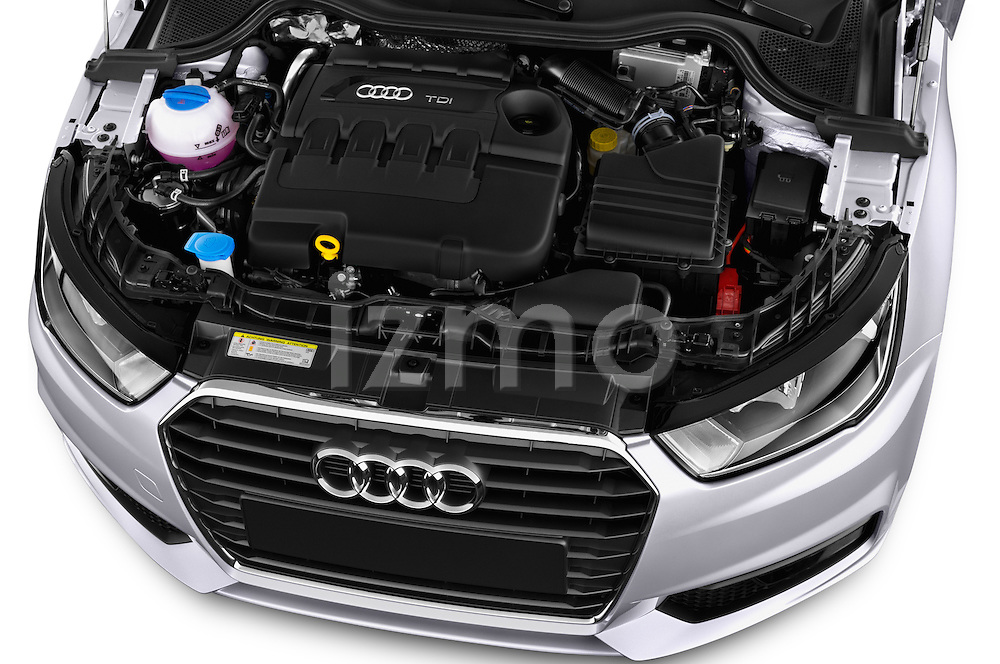 Car Stock 2015 Audi A1 Sportback 5 Door Hatchback Engine high angle detail view