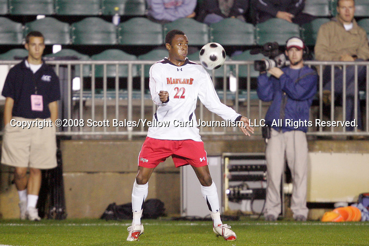14 November 2008: Maryland's Rodney Wallace. The University of Maryland defeated Boston College 1-0 at WakeMed Stadium at WakeMed Soccer Park in Cary, NC in a men's ACC tournament semifinal game.