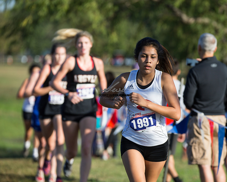 Jennifer Ramirez of Fredericksburg High School runs in the Girls Class 4A UIL Cross Country State Championships at Old Settlers Park in Round Rock, Texas, on November 12, 2016.