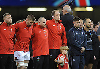 Welsh captain Alun Wyn Jones during the 2 minutes silence <br /> <br /> Photographer Ian Cook/CameraSport<br /> <br /> Under Armour Series Autumn Internationals - Wales v Australia - Saturday 10th November 2018 - Principality Stadium - Cardiff<br /> <br /> World Copyright © 2018 CameraSport. All rights reserved. 43 Linden Ave. Countesthorpe. Leicester. England. LE8 5PG - Tel: +44 (0) 116 277 4147 - admin@camerasport.com - www.camerasport.com